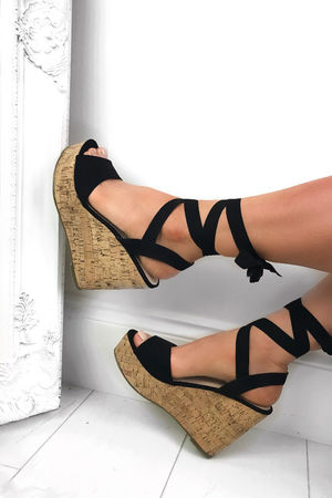 CAPRICE Black Wrap Up Wedges