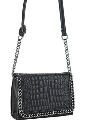 KYLIE Black Faux Leather Crocodile Chain Bag