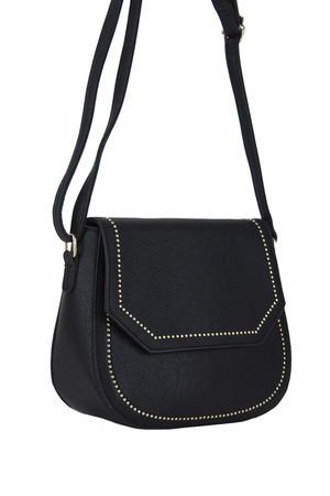 KARA Black Cross body Bag with Gold Detail