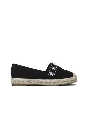 BRIANNA Black Stud Espadrilles With Silver Detail
