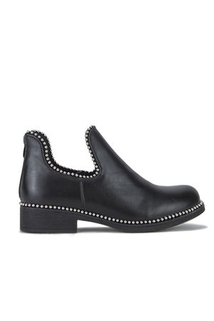 PIXIE Black Cut Out Stud Ankle Chelsea Boots