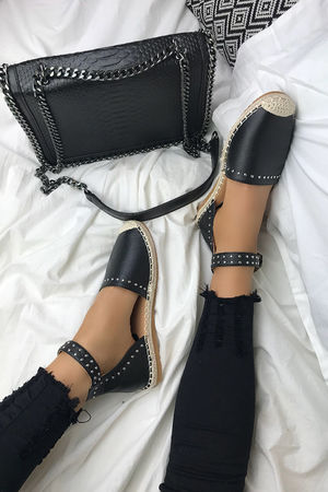 BRANDY Black Stud Espadrilles With Silver Strap Detail