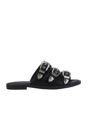 JADA Black Buckle Slider Sandals With Silver Detail