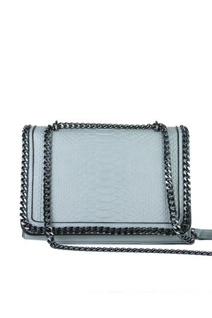 APRIL Light Blue Faux Leather Crocodile Chain Bag