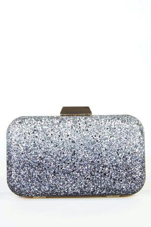 NAOMI Blue Glitter Box Clutch Bag