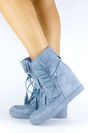 HARRIE Blue Fringe Wedge Sneaker