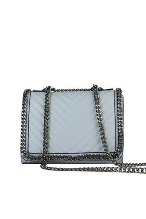 EVE Light Blue Quilted Chain Cross Body Bag