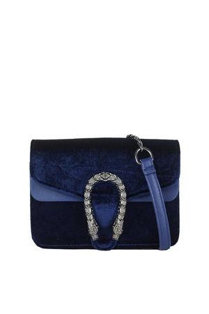 HEIDI Blue Tiger Shoulder Bag With Chain Strap