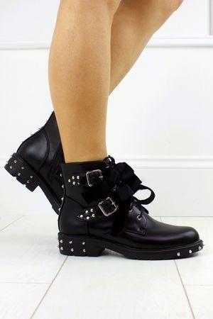 PERLA Black Faux Leather Biker Boots