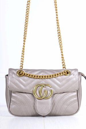 MARNIE Bronze Quilted Emblem Shoulder Bag