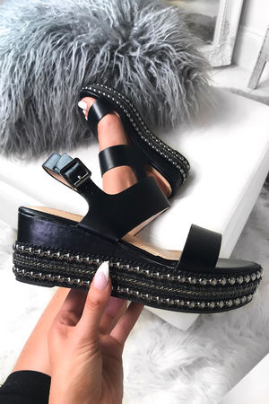 BROOKE Black Studded Espadrille Flatforms