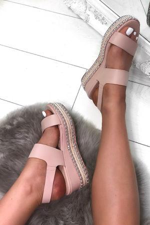 BROOKE Pink Studded Espadrille Flatforms