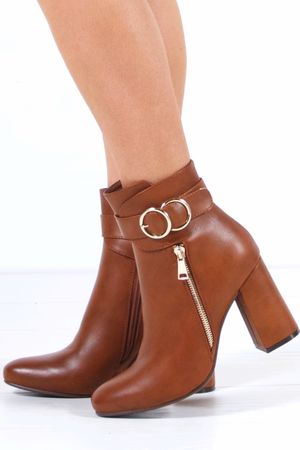 NARELLE Brown Emblem Ankle Boot