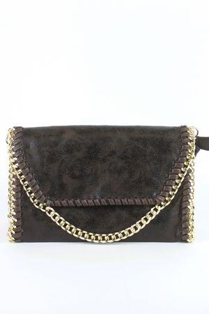 MEGHAN Brown Chain Shoulder Bag