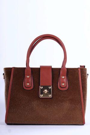 DARBY Brown Faux Fur Tote Bag
