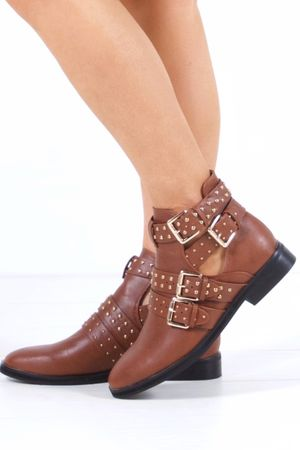 RIHANNA Tan Cut Out Buckle Boot