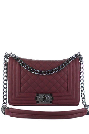 CHER Burgundy Quilted Shoulder Bag