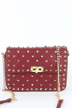 MIMI Burgundy Stud Chain Bag