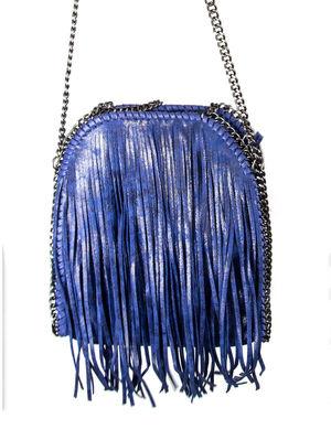 SIENNA Blue Fringe Bag