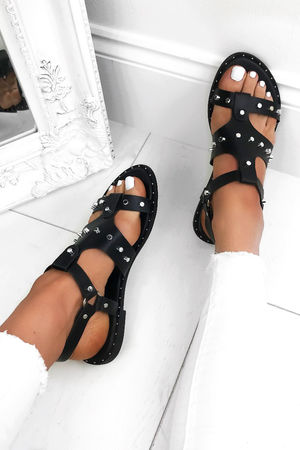 CARIS Black Stud Sandals With Silver Detail