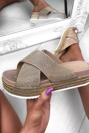 CARLI Rose Gold Flatform Sliders