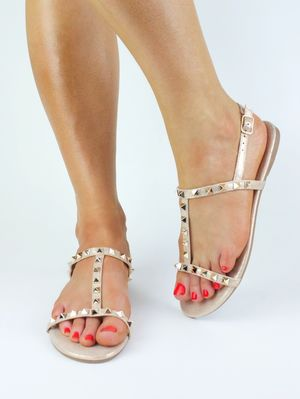 SOPHIA Champagne Stud Sandals