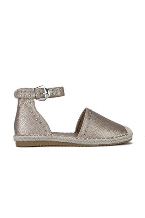 BRANDY Champagne Stud Espadrilles With Silver Strap Detail