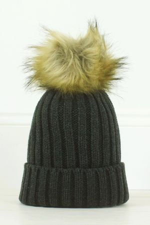 MADDY Charcoal Faux Fur Bobble Hat