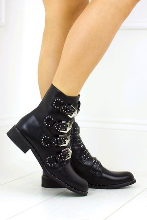 CHLOE Black Faux Leather Biker Boot