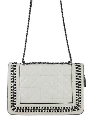 CLAUDINE Beige Quilted Chain Bag