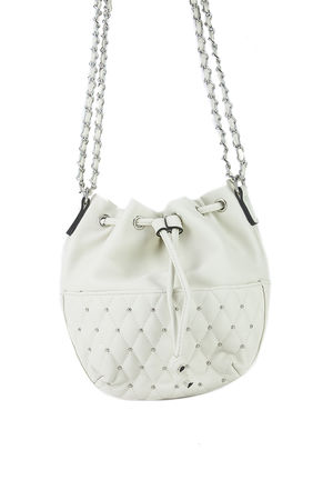 RHEA Beige Stud Bucket Bag
