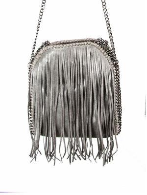SIENNA Dark Grey Fringe Bag