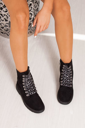 DARCIE Black Chunky Biker Boots With Chain Detail