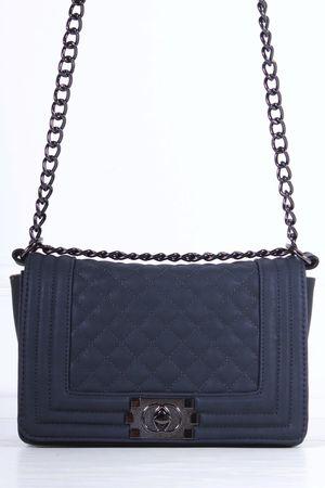 CHER Dark Grey Quilted Shoulder Bag