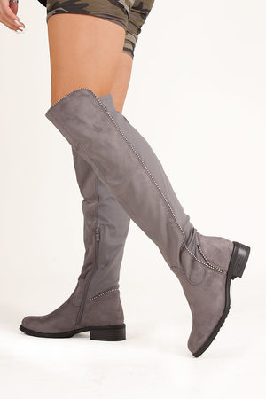 ELIANA Grey Faux Suede Silver Studded Flat Over The Knee Boots