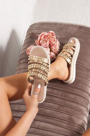 ELSIE Rose Gold Diamante Embellished Strap Sandals
