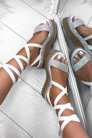 ESME White Diamante Wrap Up Flatforms