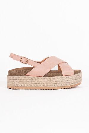 EVIE Pink Cross Strap Espadrille Flatforms