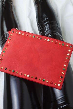 FREYA Red Stud Clutch Bag