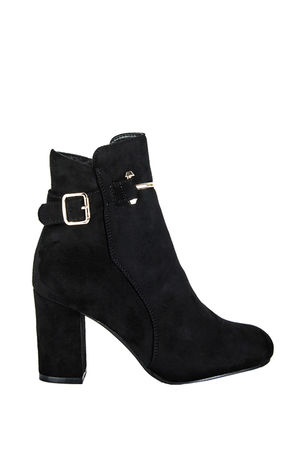 MAISIE Black Faux Suede Ankle Boot