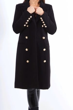 VIENNA Black Double Breasted Coat