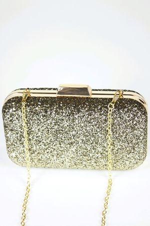 NAOMI Gold Glitter Box Clutch Bag