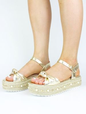 HARLEY Gold Bow And Pearl Espadrille