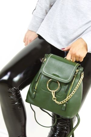 FINOLA Khaki Faux Leather Backpack