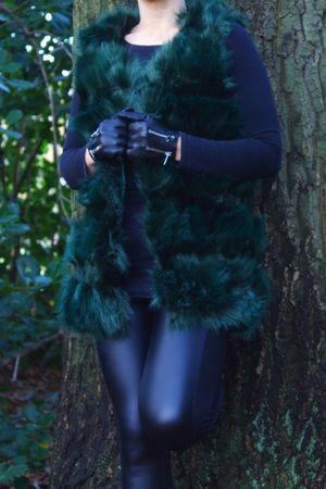 THEA Green Faux Fur Gilet