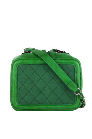 GEORGINA Green Quilted Box Bag With Chain Strap