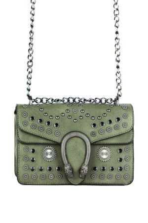 OLIVE Khaki Hardware Shoulder Bag