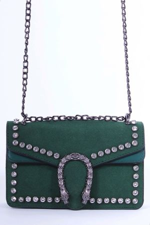 MICA Green Snake Jewel Shoulder Bag