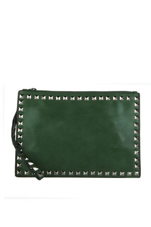 HEATHER Green Stud Clutch Cross Body Bag