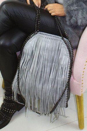 AVA Light Grey Fringe Bag
